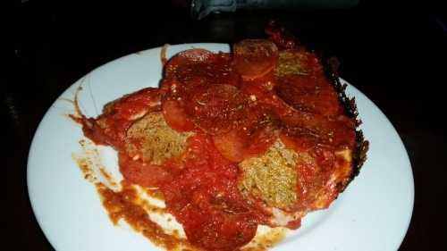 A beautiful slice of Pequod's Pizza. Meatball and Pepperoni on this one