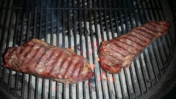 NY Strips over Direct Heat