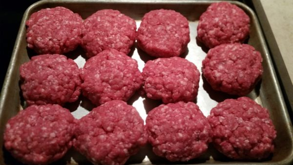 12 burger patties ready to go