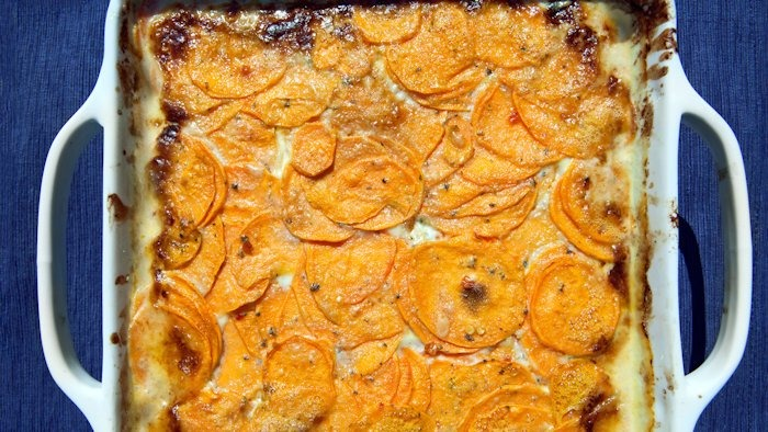 Sweet Potato Blue Cheese Gratin